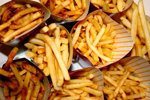 French fries and fast foods